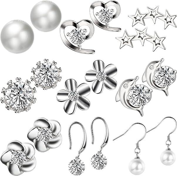 9 Pairs Silver Plated Stud Earrings Set Cute Flower Heart Animal Cubic Zirconia Piercing Studs, 9 Styles