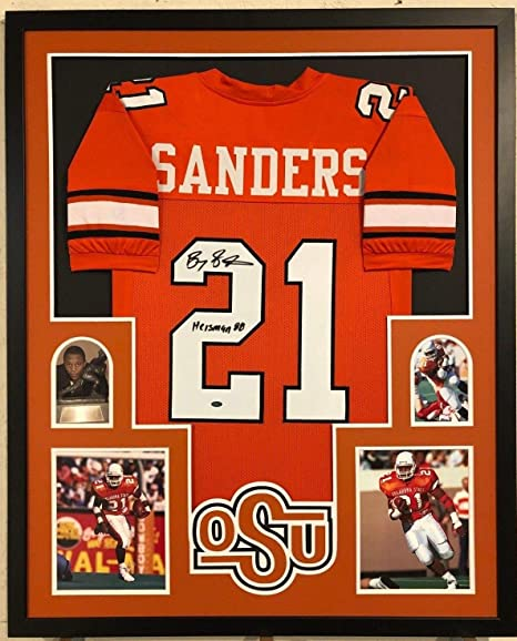 626e5ca6 FRAMED OKLAHOMA STATE BARRY SANDERS AUTOGRAPHED SIGNED INSCRIBED ...