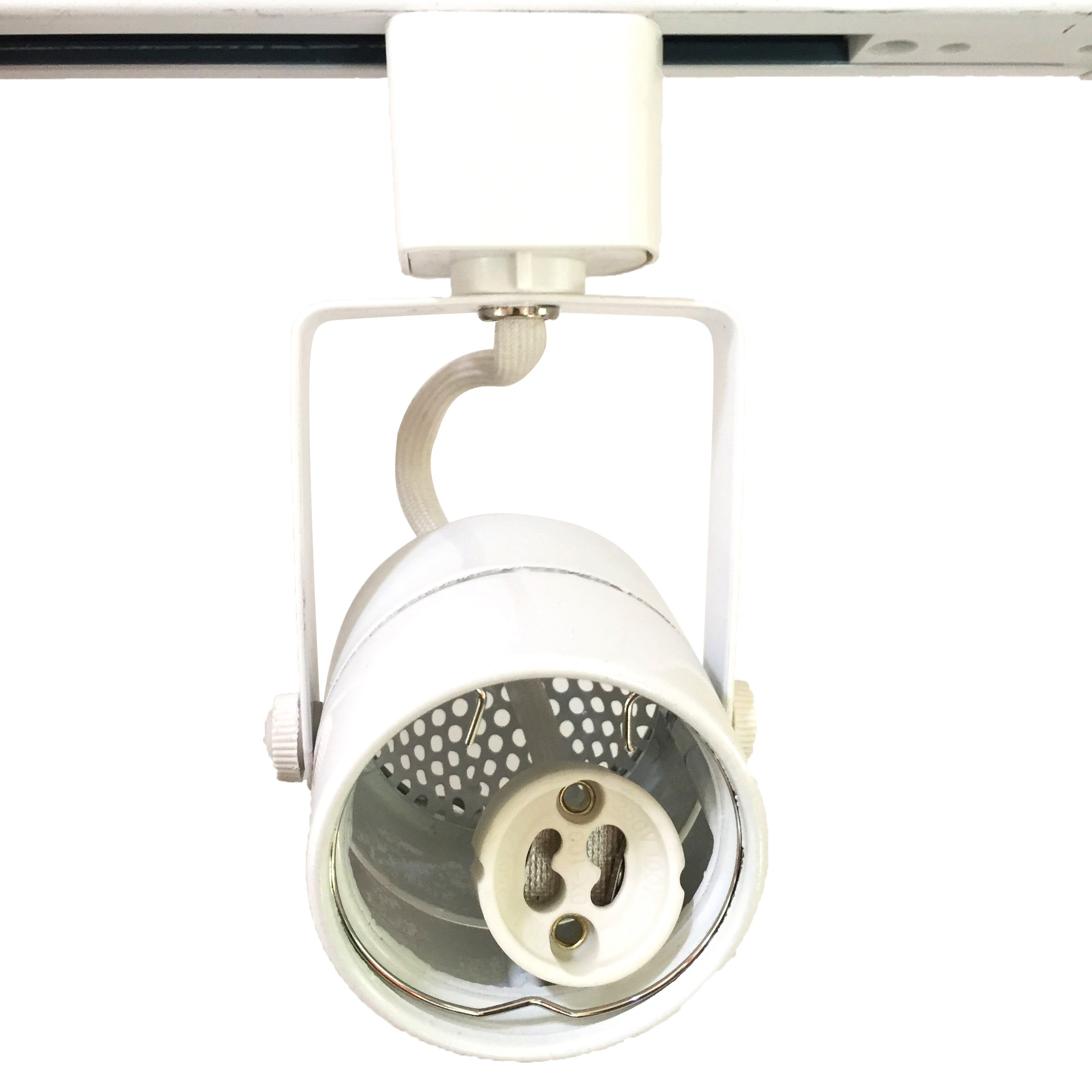King SHA White GU10 Line Voltage Track Lighting Head (Bulb NOT Included) Compatible H Type 3-Wire Single Circuit Track Systems