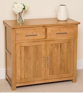 oslo solid oak small sideboard cabinet 91 x 43 x 82 cm camberley oak 2 door