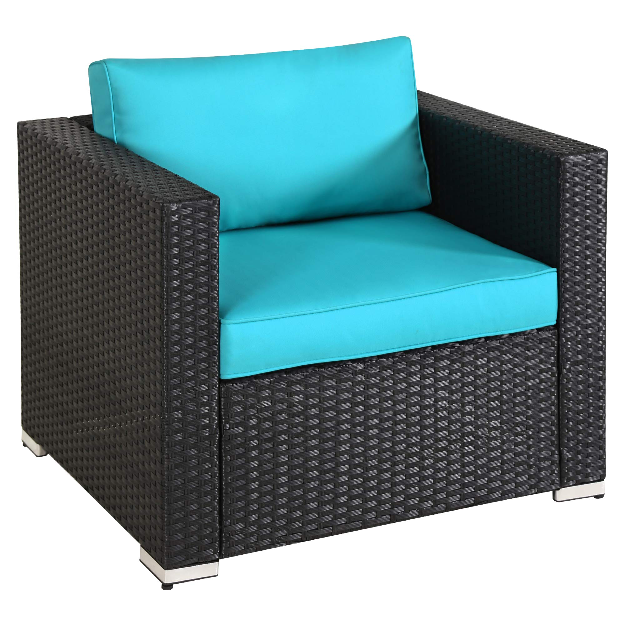 Outdoor Sectional Rattan Single Sofa with Armrest, Patio PE Wicker Furniture Additional Armchair, Garden Lawn Pool Backyard, All Weather Black Wicker Blue Washable Cushions by Green4ever