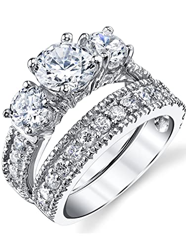 Sterling Silver Past Present Future Bridal Set Engagement Wedding Ring Band  W/Cubic Zirconia CZ