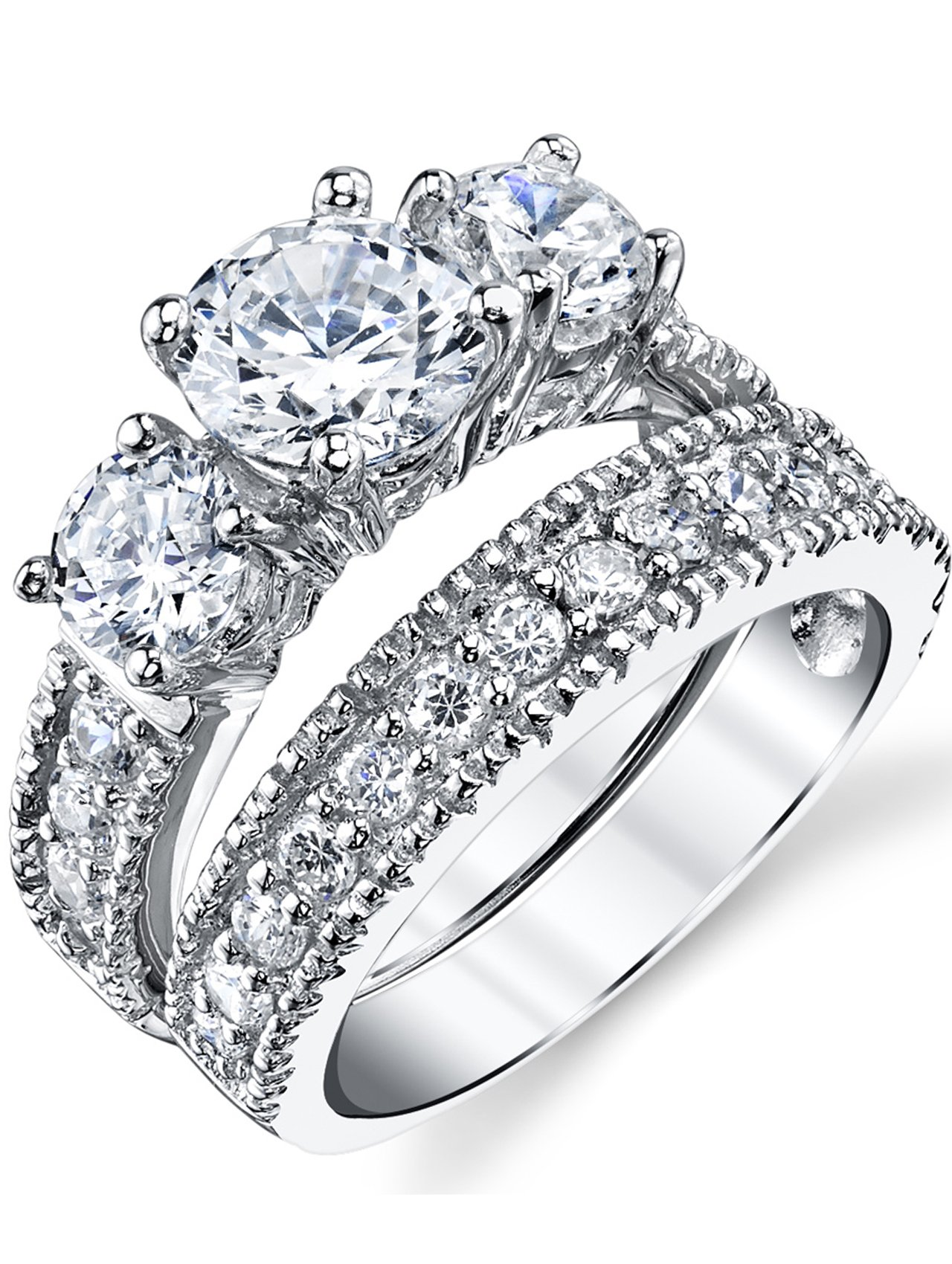 Sterling Silver Past Present Future Bridal Set Engagement Wedding Ring Band W/Cubic Zirconia CZ 6.5