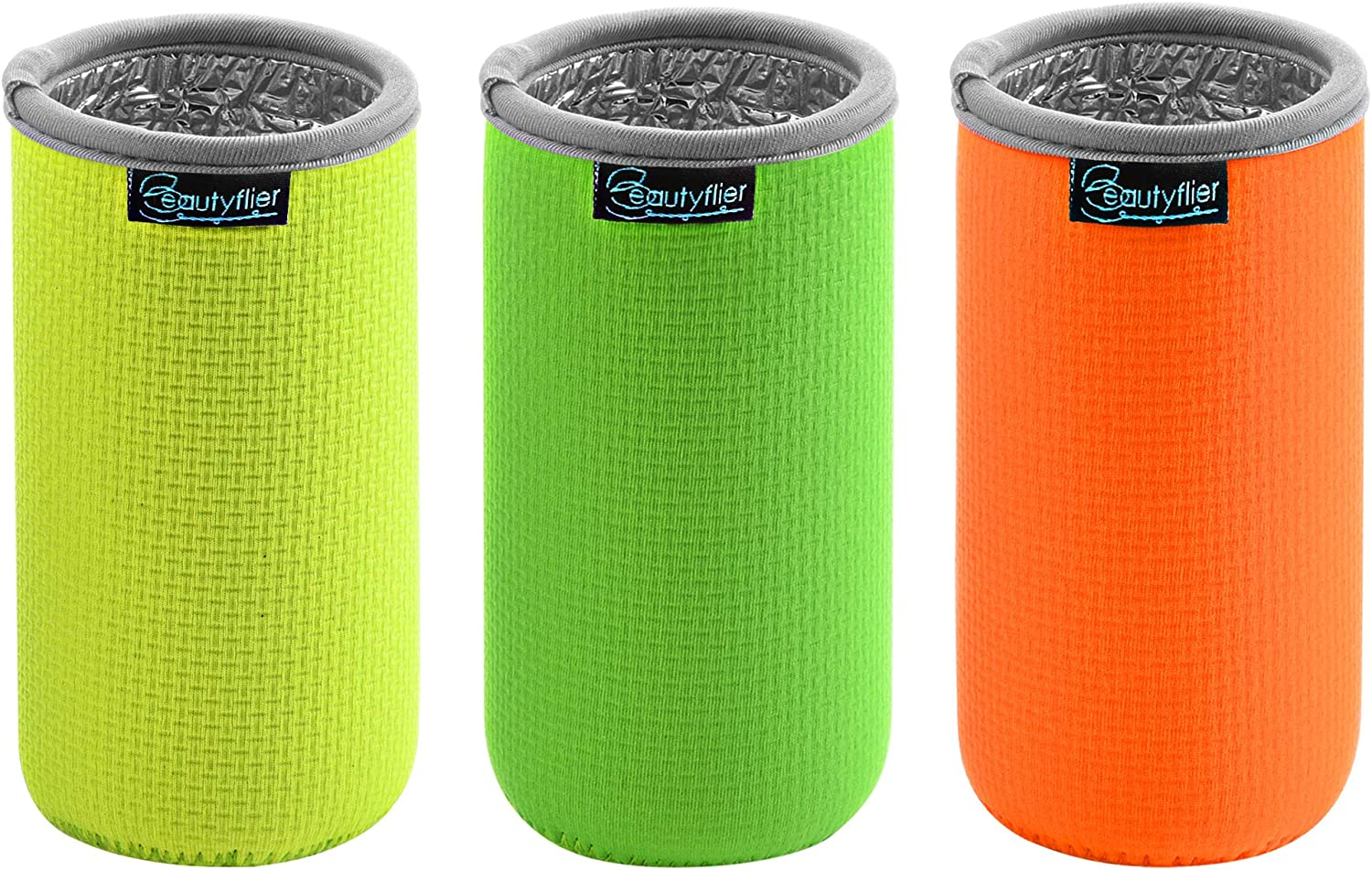 Beautyflier 3 PCS Anti-Slip Embossed Neoprene Bottle Insulator Sleeve 3mm Thick Collapsible Drink Slim Can Cover for BBQ Camping Party (12oz(Fluorescent Yellow/Green/Orange)Aluminium Film
