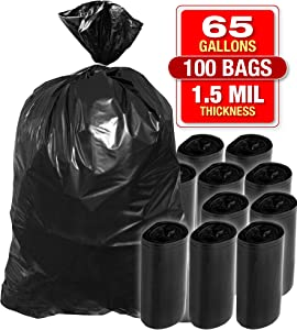 X-Large 65 Gallon Black Trash Bags - 100 Pack Heavy Duty Bags for Garbage, Storage - 1.5 Mil Thick, 50