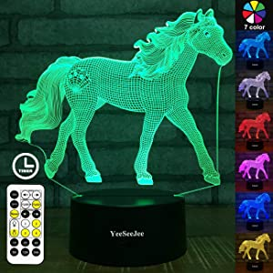 YeeSeeJee Horse Gifts for Girls,3D Night Light with 7 Colors Adjustable Timer Remote & Smart Touch Horse Toys Birthday Gifts for Girls Age 3 4 5 6 7 8 9 10 11 12 Year Old Girl Gifts (Horse 7CB)