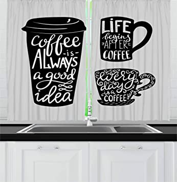 Ambesonne Coffee Kitchen Curtains, Words About Coffee with Take Away Mug  Cup Silhouette Drinking Addiction Theme, Window Drapes 2 Panel Set for ...