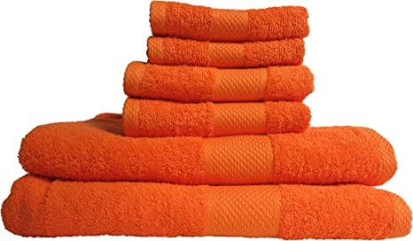 Amazon Com Lantrix 6 Piece 100 Soft Cotton Towel Set Bright Orange Home Kitchen