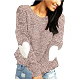 shermie Women's Cute Heart Pattern Elbow Patchwork Casual Long Sleeve Round Neck Knits Sweater Pullover