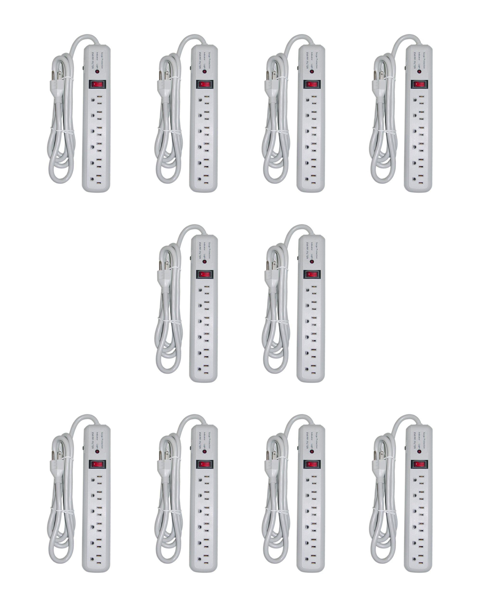 C&E 6-Foot 6-Outlet 3 MOV 540-Joules EMI/RFI Power Chord with Surge Protector, Gray, 10-Pack (CNE23855)