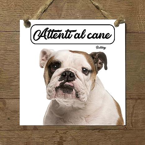 Bulldog Inglés Mod 2 cuidado con el Perro matrícula azulejo ...