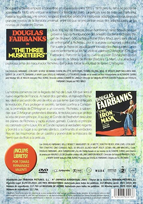 Tres mosqueteros+the iron mask [DVD]: Amazon.es: Douglas Fairbanks, Allan Dwan, Fred Niblo: Cine y Series TV