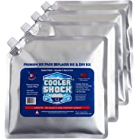 "4 Mid-Size Cooler Freeze Packs 10"" x 10"" The Coldest Pack at 18 Degrees F. No More Ice! Reusable. You Add Water & Save…"