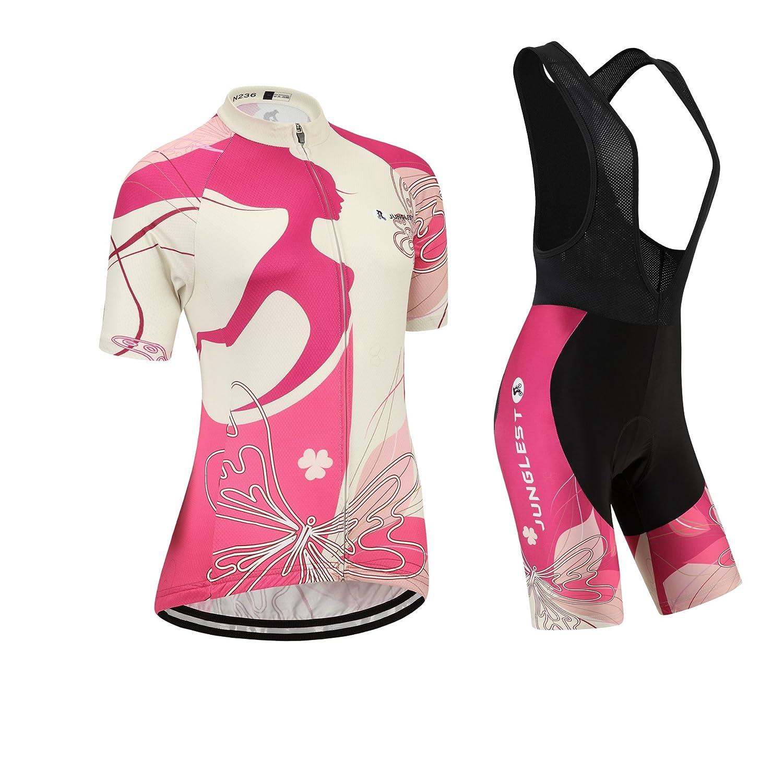 Cycling Jersey Setレディース半袖(S ~ 5 X L、オプション:よだれかけ、3dパッド) n236 B01BX3B7PE (General pad)(Bust 43-45inchs)|種類: セット(ブラック前掛け) 種類: セット(ブラック前掛け) (General pad)(Bust 43-45inchs)