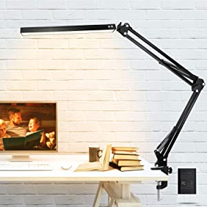 Led Desk Lamp, Adjustable Metal Arm Desk Lamp,Desktop Clip Fixed, with 3-Color Modes, Adjustable Brightness in Ten Gears,Home Office Desk Lamp, Study, Drawing,Bedroom Lights,Eye Protection Light,10w