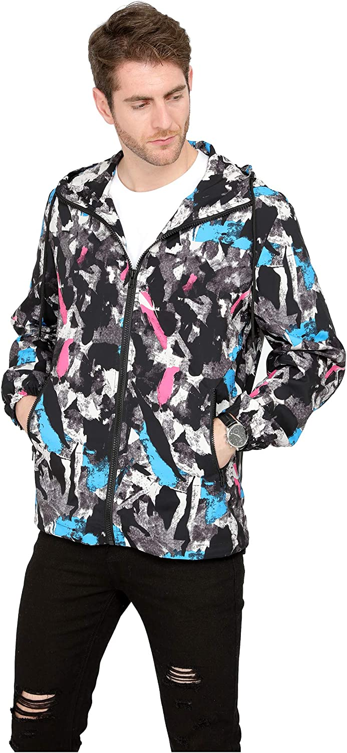 VICALLED Mens Casual Splice Printing Design Lightweight Jacket Breathable Comfort Outdoor Detachable Hooded Coat
