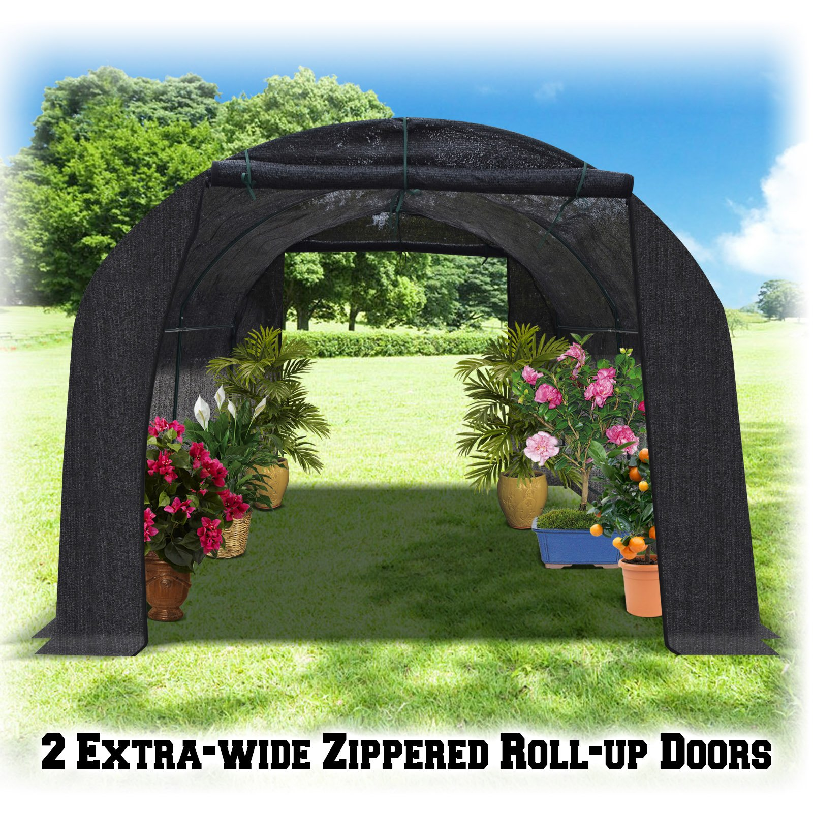 BenefitUSA BLACK Hot Greenhouse Large Walk-In Outdoor Plant Gardening (20'X10'X7')