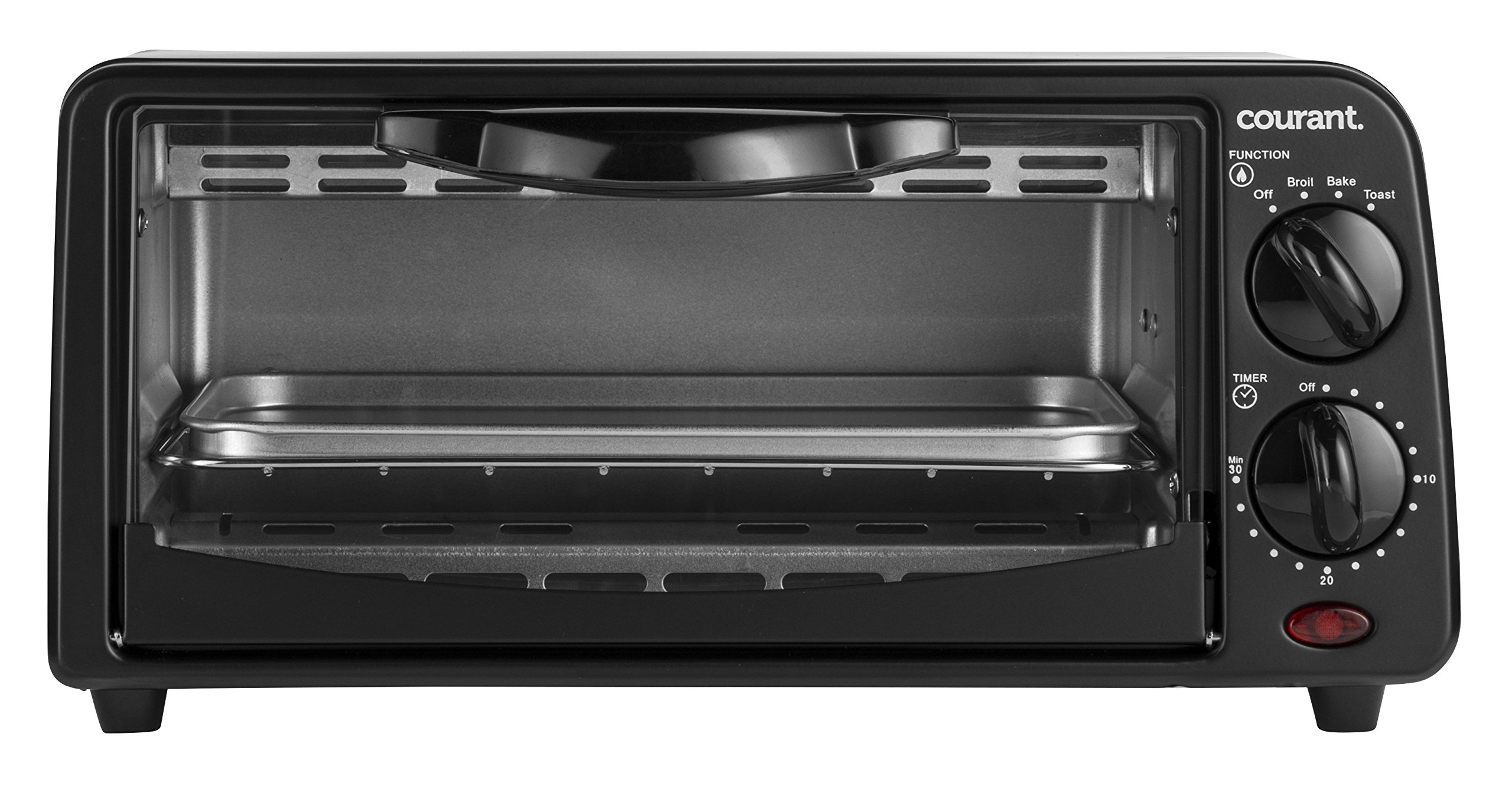 Courant TO-621K 2 Slice Compact Toaster Oven with Bake Tray and Toast Rack, Black by Courant