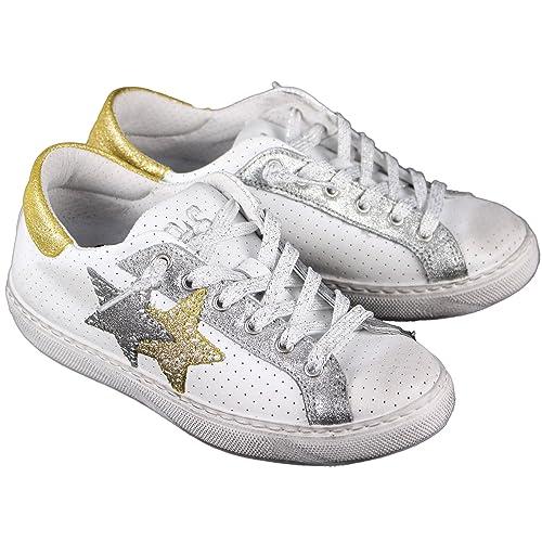 ea6ebeb4d5 2 Star Scarpe Donna MOD. Sneaker Low Bianco-Silver-Oro Art.2SD1824 ...