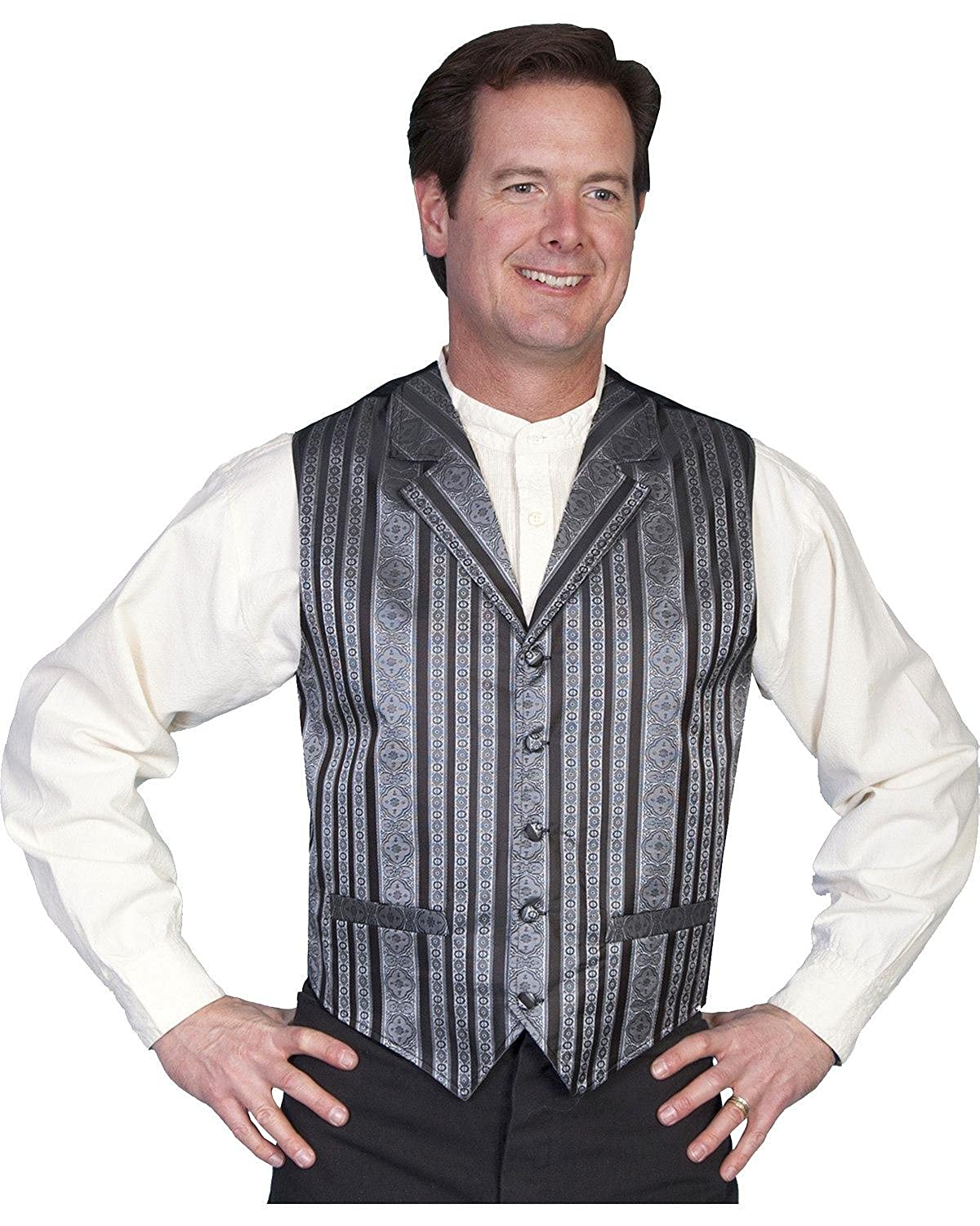 Men's Steampunk Vests, Waistcoats, Corsets Rangewear By Scully Mens Rangewear Waverly Vest Big And Tall - Rw167x Blk $64.00 AT vintagedancer.com