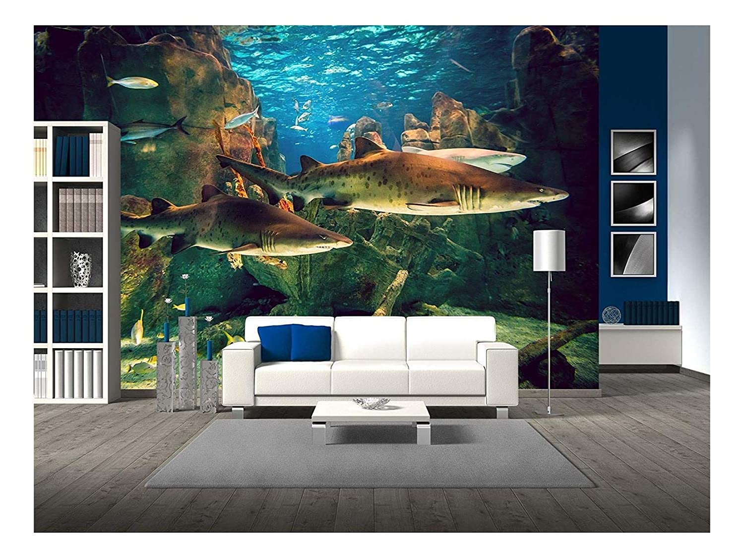 wall26 - Two White Sharks in Istanbul Aquarium. - Removable Wall Mural | Self-Adhesive Large Wallpaper - 66x96 inches