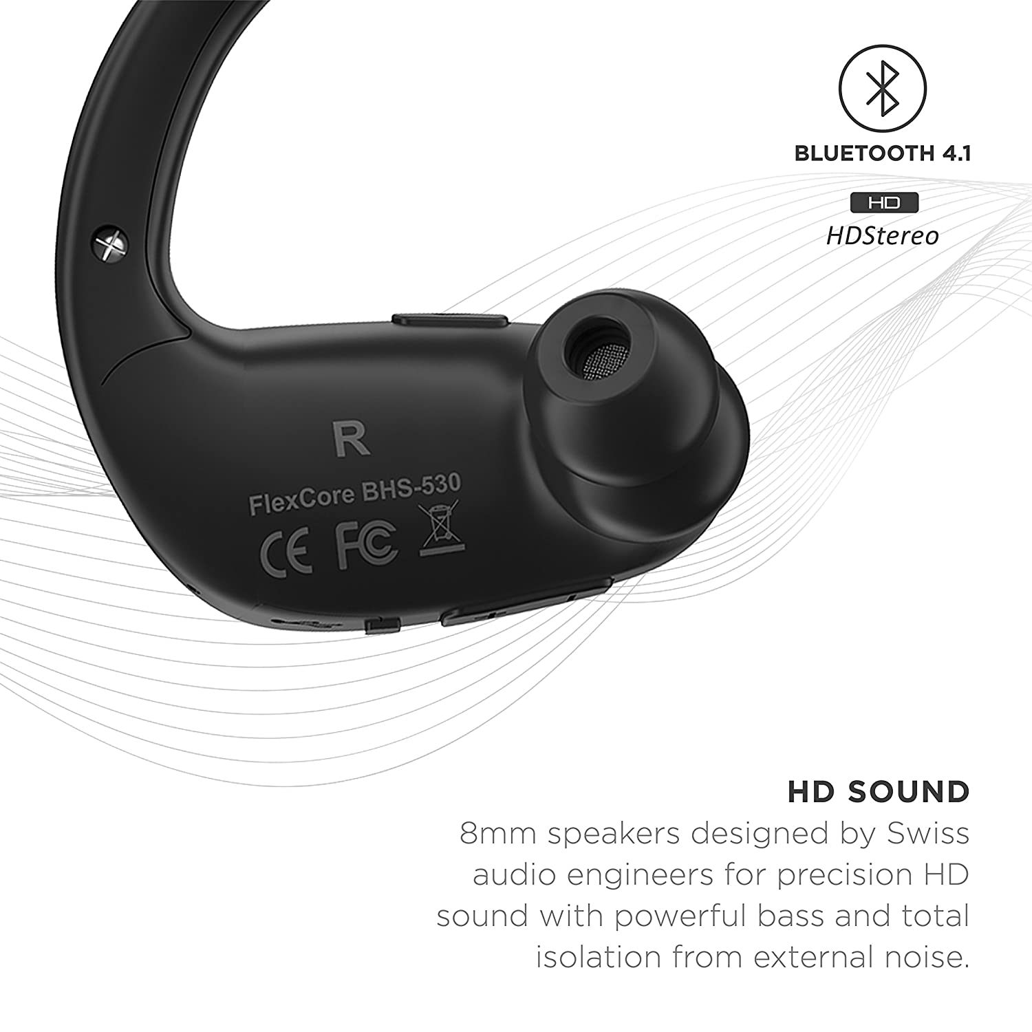 Phaiser FlexCore Gen-5 Bluetooth Headphones, Wireless Earbuds Stereo Earphones for Running with Mic and Lifetime Sweatproof Guarantee, Blackout