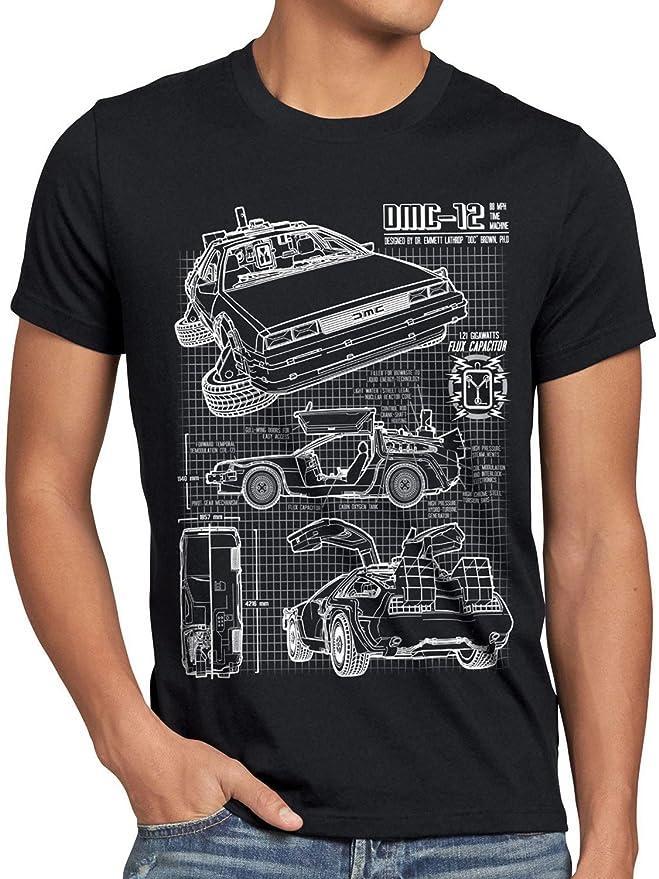 f3a23119d style3 DMC-12 Blueprint T-Shirt Men future schematics  Amazon.co.uk   Clothing