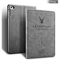 MOCA Vintage Smart Folio Flip cover case for 7.9-inch Apple iPad Mini 1, 2, 3/A1432/A1454/A1455/A1489/A1601/A1490/A1491/A1599/A1600(Grey)