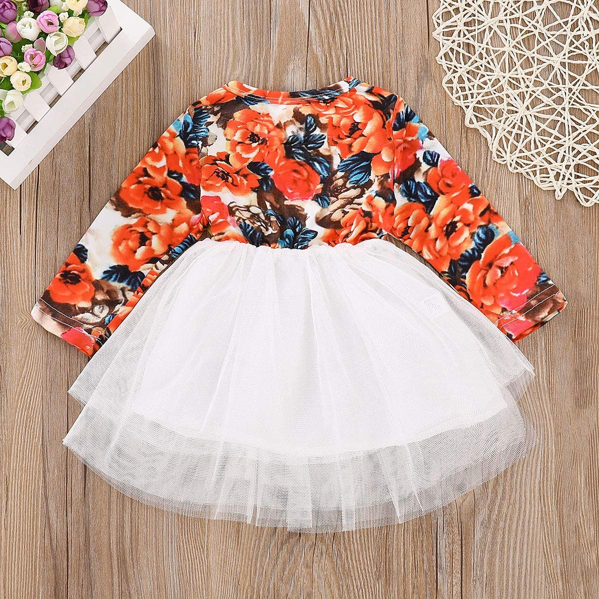 Borlai Neugeborenes Baby M/ädchen Kleid Rundhals Floral Kleid f/ür Casual Party