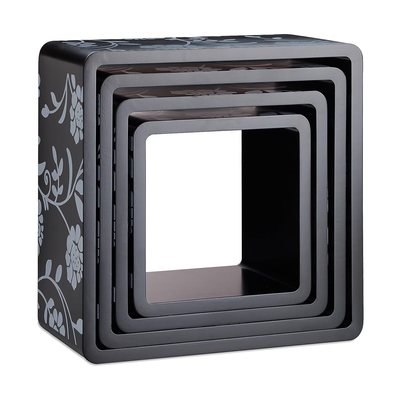 Raffinato Motivo Floreale Cameretta Bianco Legno MDF Montaggio a Scomparsa Relaxdays 10021887/_49 Set 4 Cubi da Parete