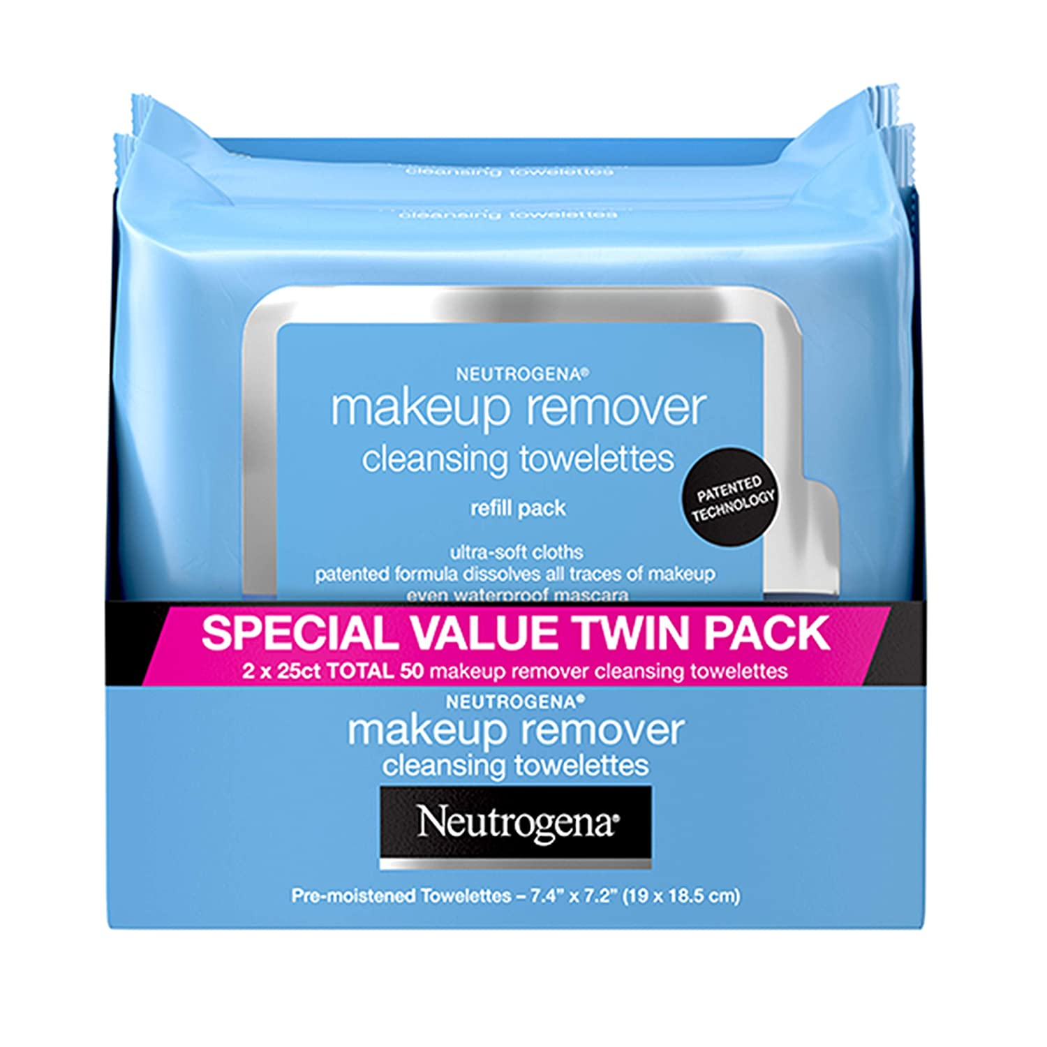 Neutrogena Makeup Remover Cleansing Face Wipes, Daily Cleansing Facial Towelettes to Remove Waterproof Makeup and Mascara, Alcohol-Free, Value Twin Pack, 25 count, 2 Pack: Beauty