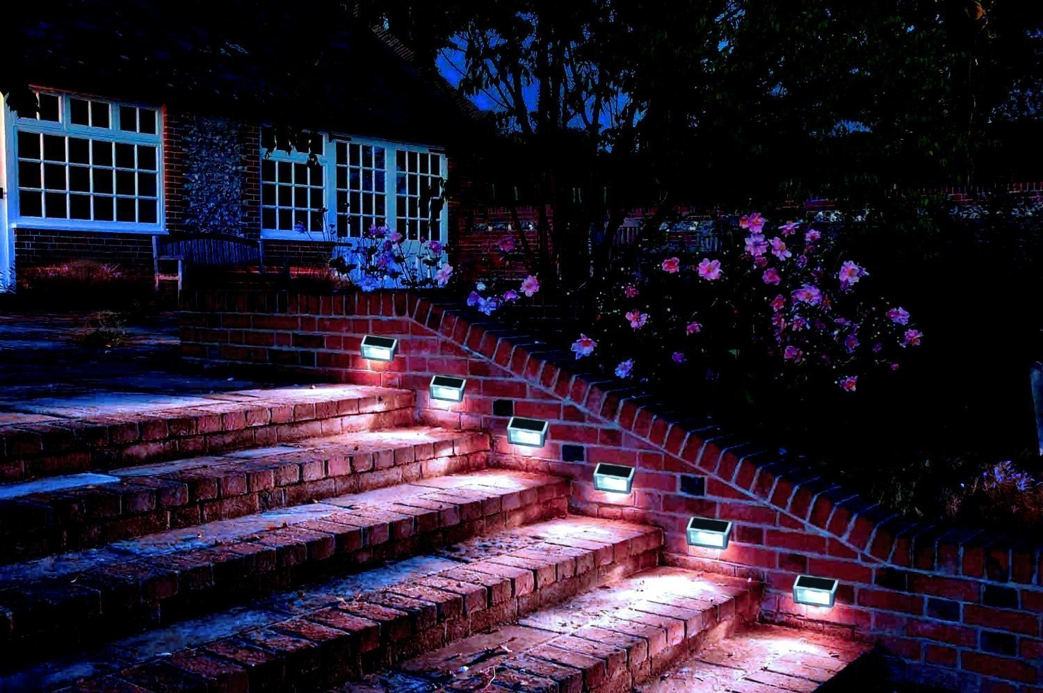 YINGHAO 3 LED Outdoor Solar Powered Step Stairs Light  2 Pack     Amazon comYINGHAO 3 LED Outdoor Solar Powered Step Stairs Light  2 Pack  . Manor House Outdoor Lighting. Home Design Ideas