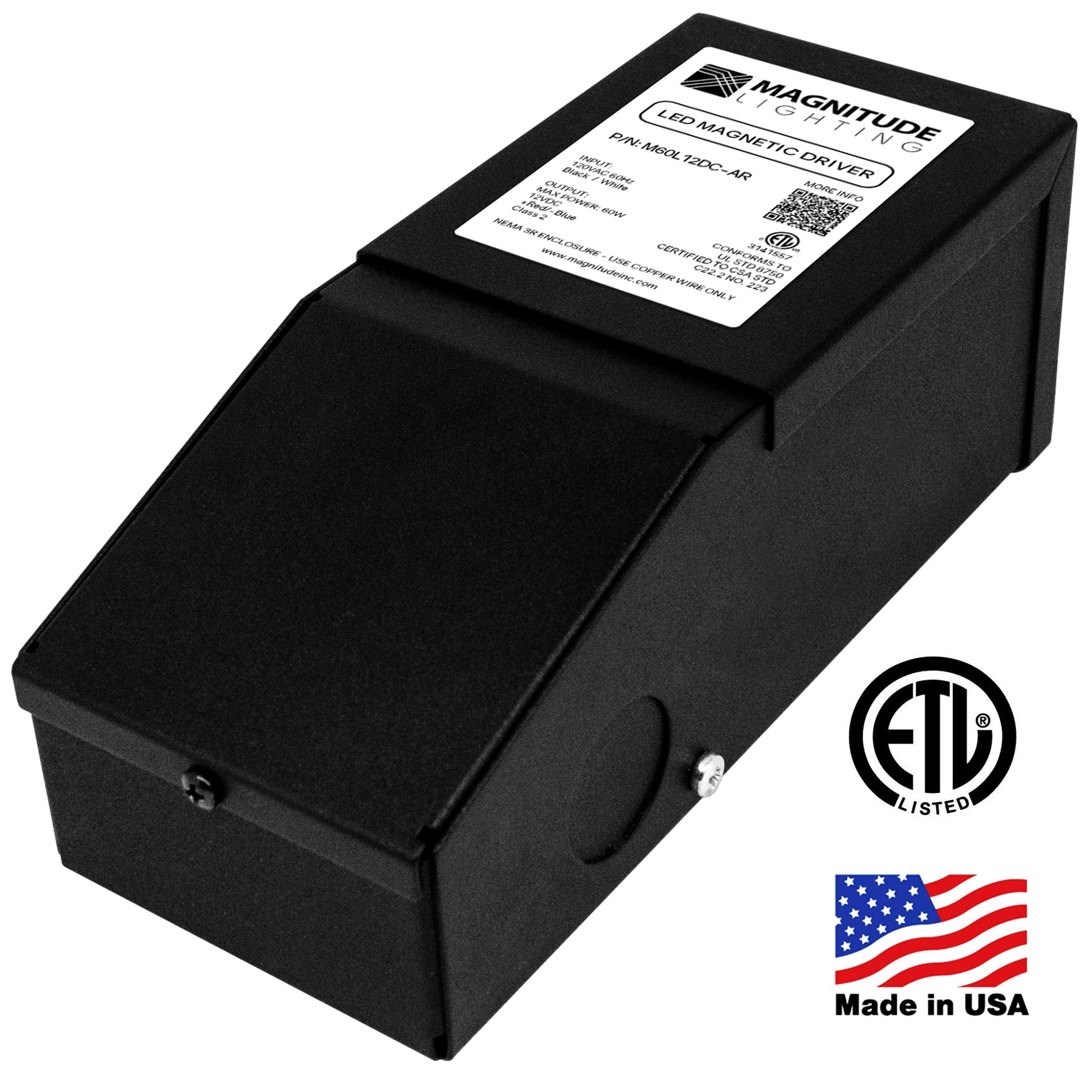 Magnitude Dimmable Driver, 60 Watt Magnetic LED Driver - 110V AC-12V DC Transformer. Made in the USA. Compatible with Lutron and Leviton for LED Strip Lights, Constant Voltage LED Products by HitLights (Image #1)