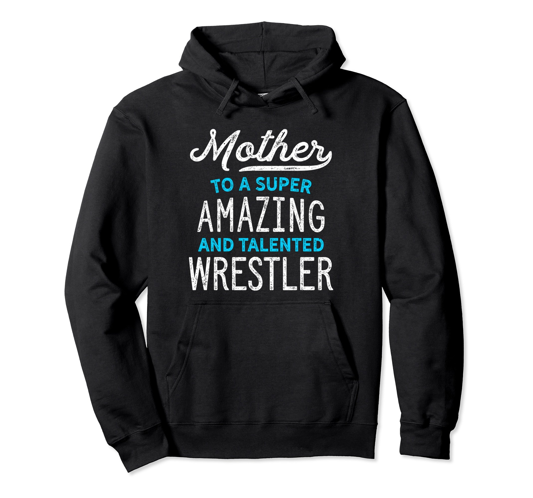Unisex Wrestling Mother Hoodie for Wrestle Moms, Cute Gift, Blue XL: Black