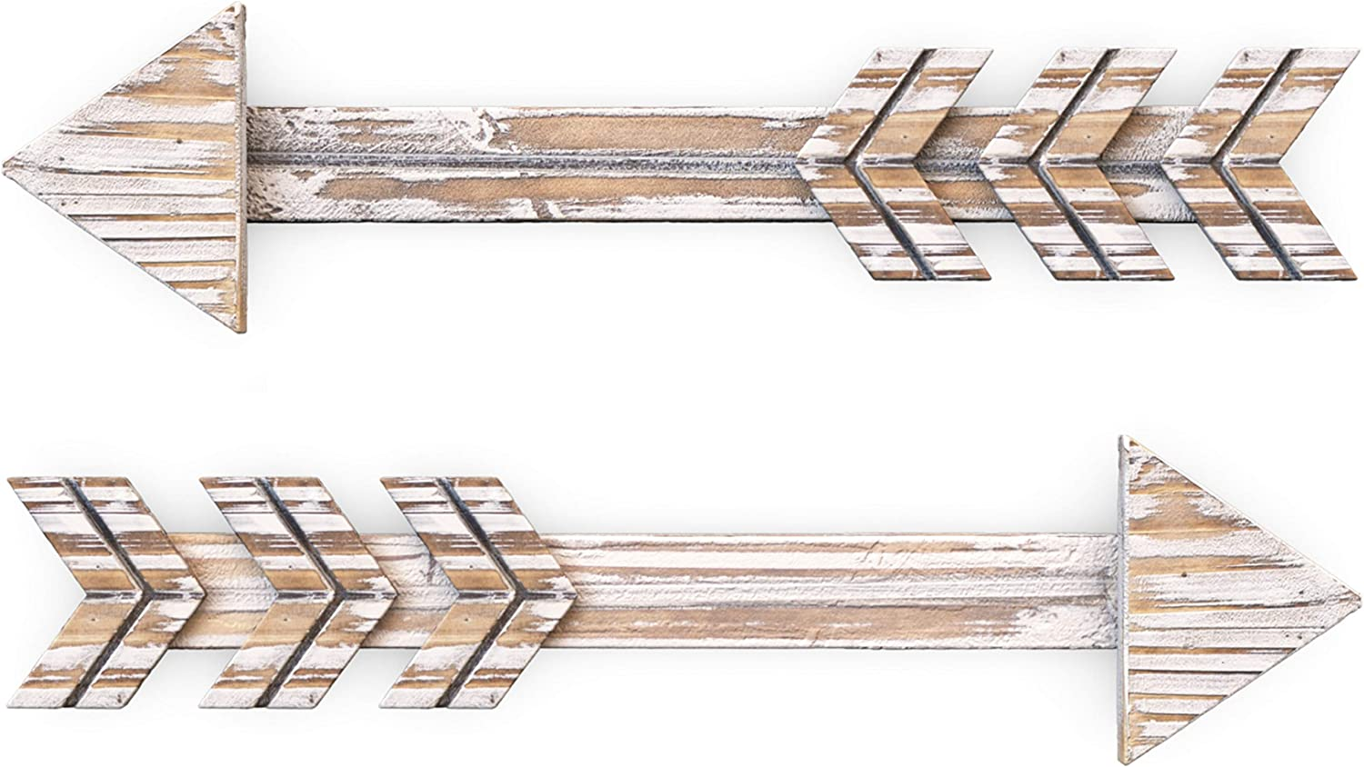 Treasures Deck Set of 2 Arrow Wall Decor Rustic- Farmhouse and Home Hanging Decoration (Brown)
