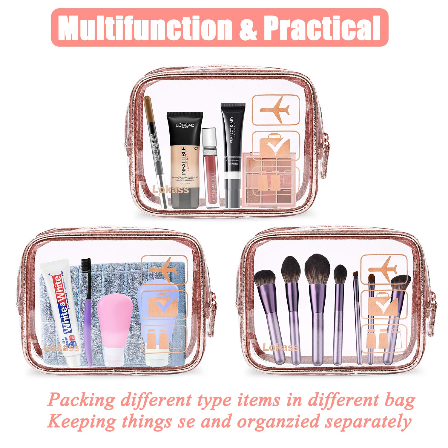 Amazon.com: NiceEbag TSA Approved Toiletry Bag 3pcs Clear ...