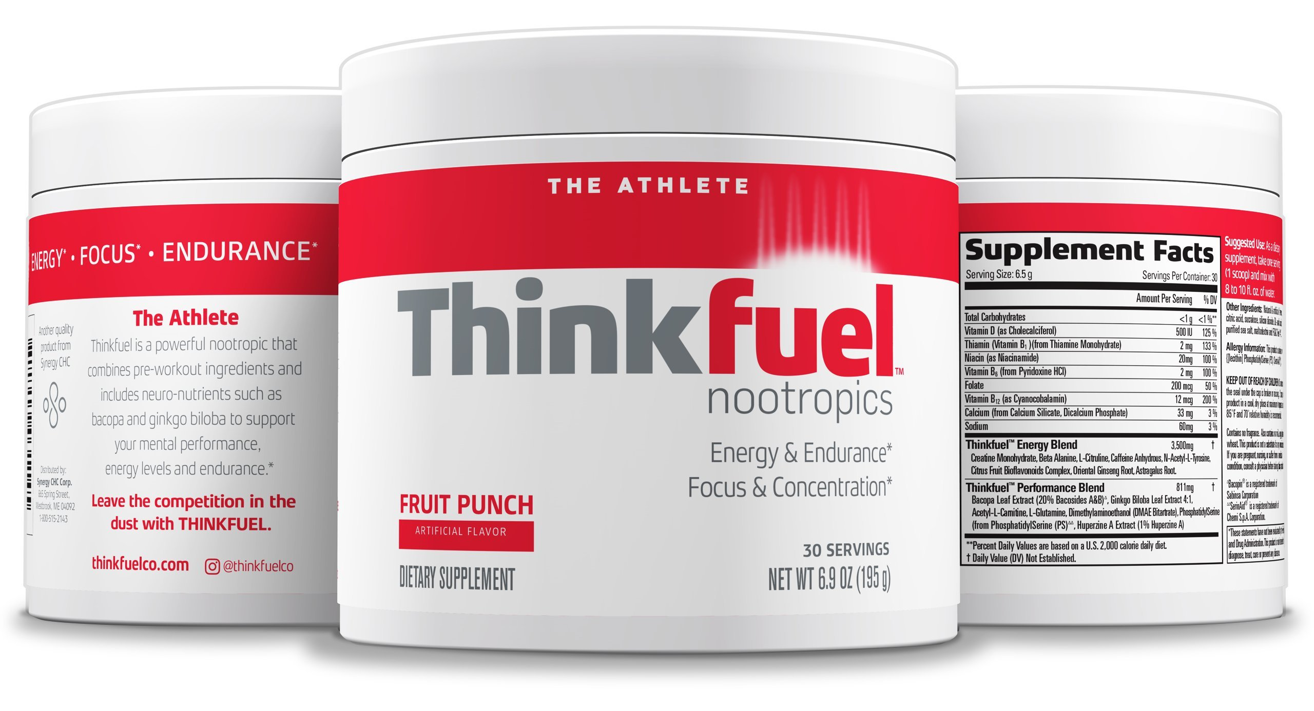 Thinkfuel Nootropic Pre Workout Powder for Athletes Dopamine Stack to Boost Mental Performance, Energy Levels & Endurance. w/DMAE, Creatine, Beta Alanine, and Caffeine. Fruit Punch, 30 Servings