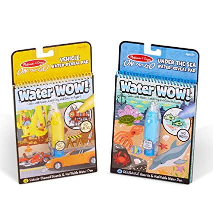 Melissa & Doug Wow! Under The Sea Water Reveal Pad and Water Wow Coloring  Book - Vehicles Bundle