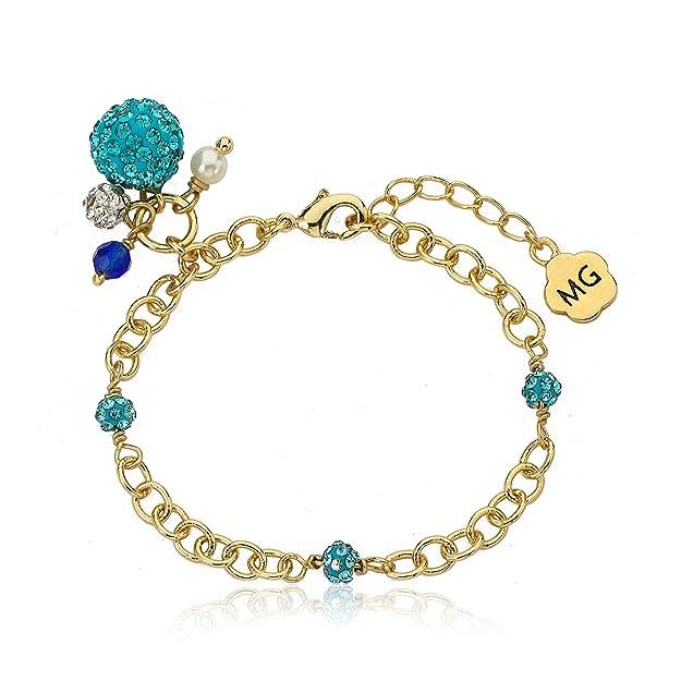 "Molly Glitz ""Glitz Blitz"" 14k Gold-Plated Aqua Crystal Balls Cluster Charm Bracelet"