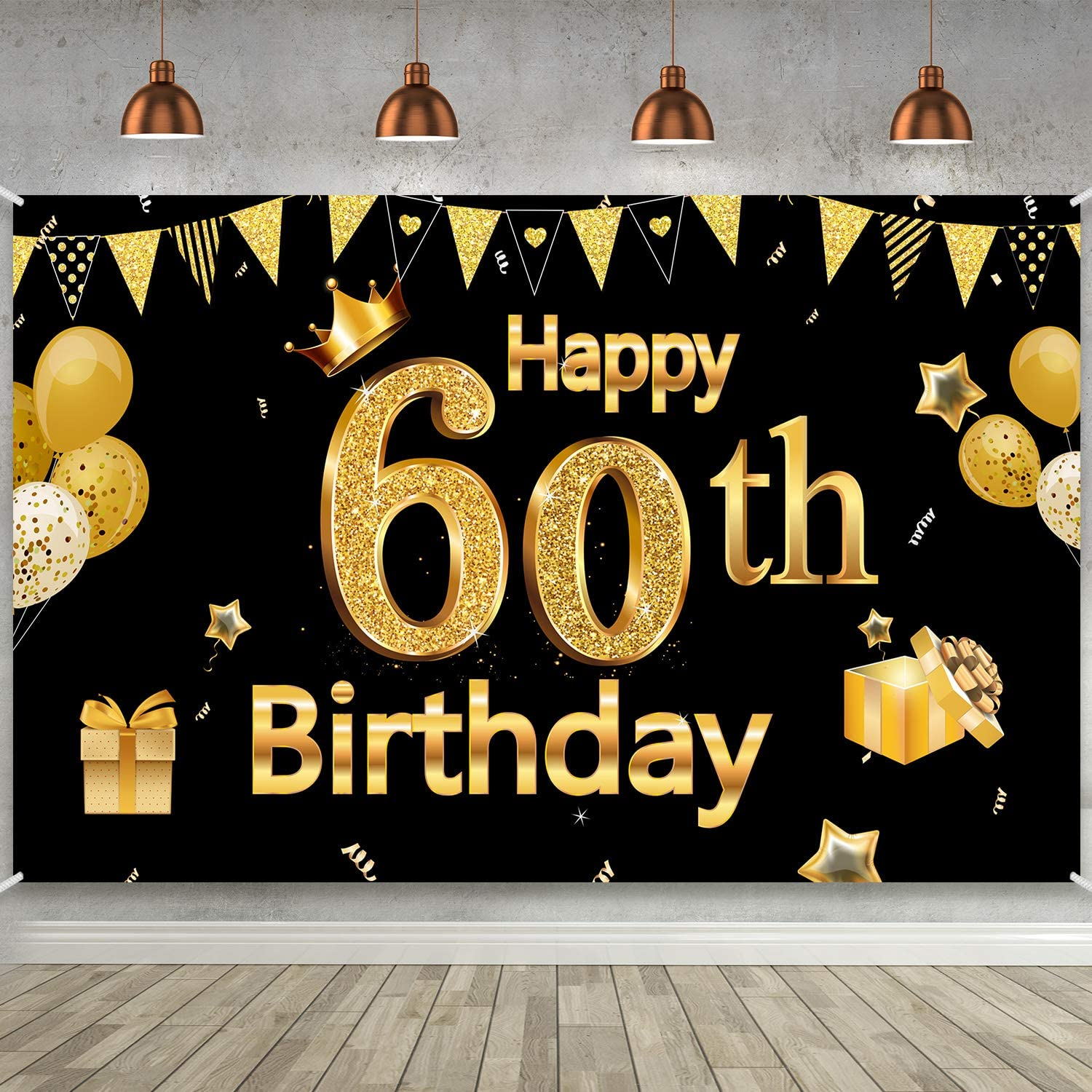 Amazon.com: 60th Birthday Party Decoration, Extra Large Black Gold Sign  Poster 60th Birthday Party Supplies, 60th Anniversary Backdrop Banner Photo  Booth Backdrop Background Banner, 72.8 x 43.3 Inch: Toys & Games
