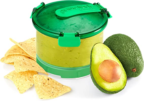 Amazon Com Casabella Guac Lock Container With Tray Green White Kitchen Dining
