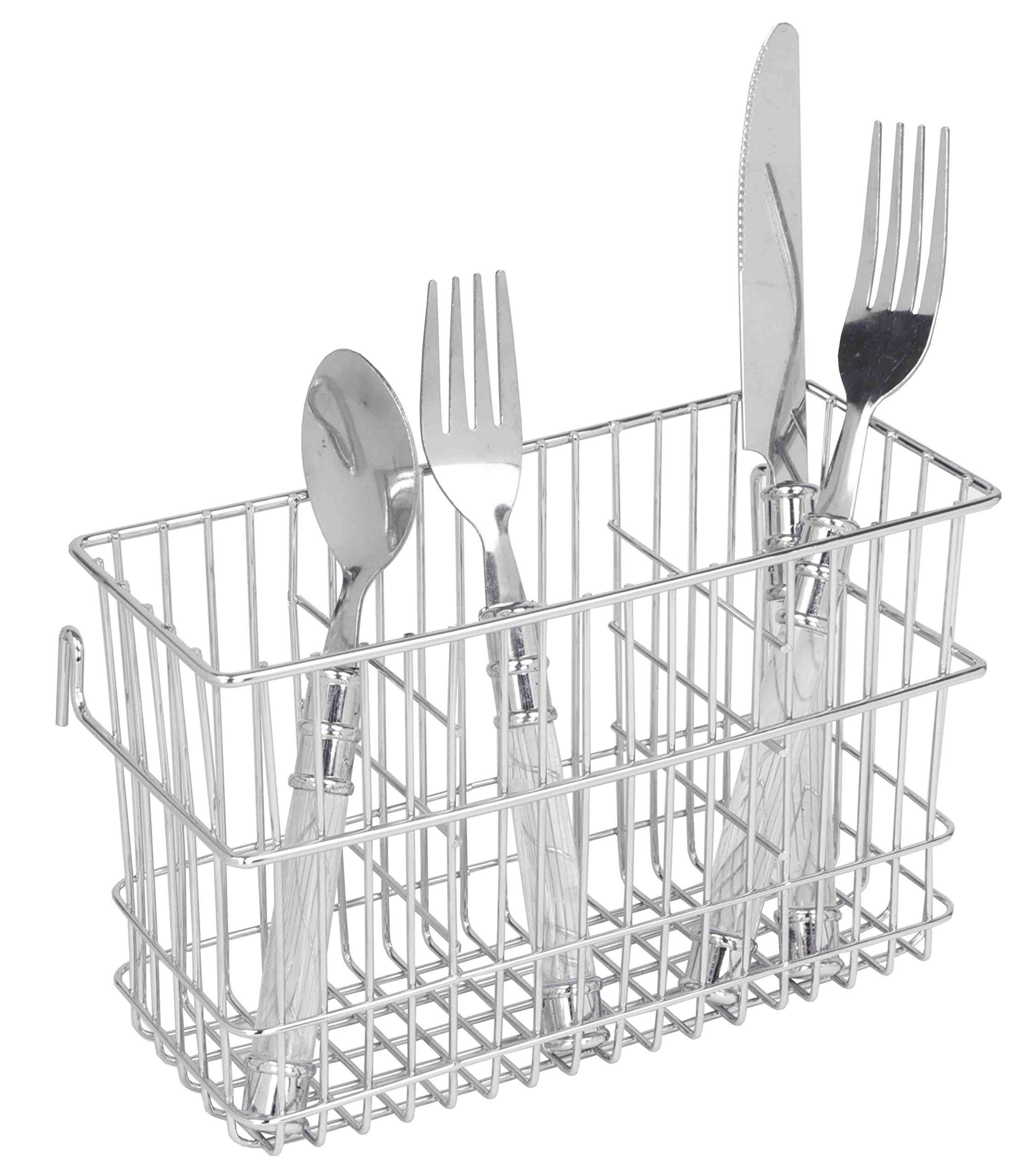 Home Basics Hanging 3-Slot Chrome Cutlery Holder