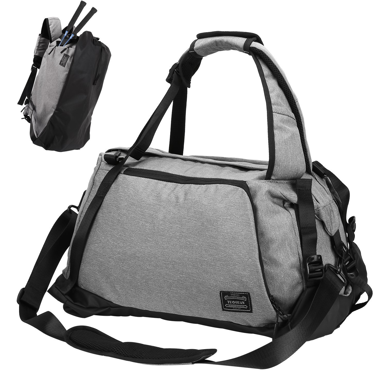 0ccb7879e40 Amazon.com   Sports Gym Bag, Lifeasy 3 in 1 Travel Duffle Bags with Shoes  Compartment Weekender Workout Backpack for Men and Women (Grey)   Sports  Duffels