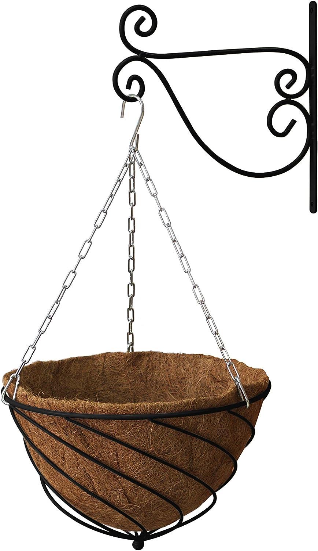 "VegTrug HBK14B Black Hanging Kit 14"" Sml (Basket, Liner, Chain and Bracket), 37x37x22 cm"