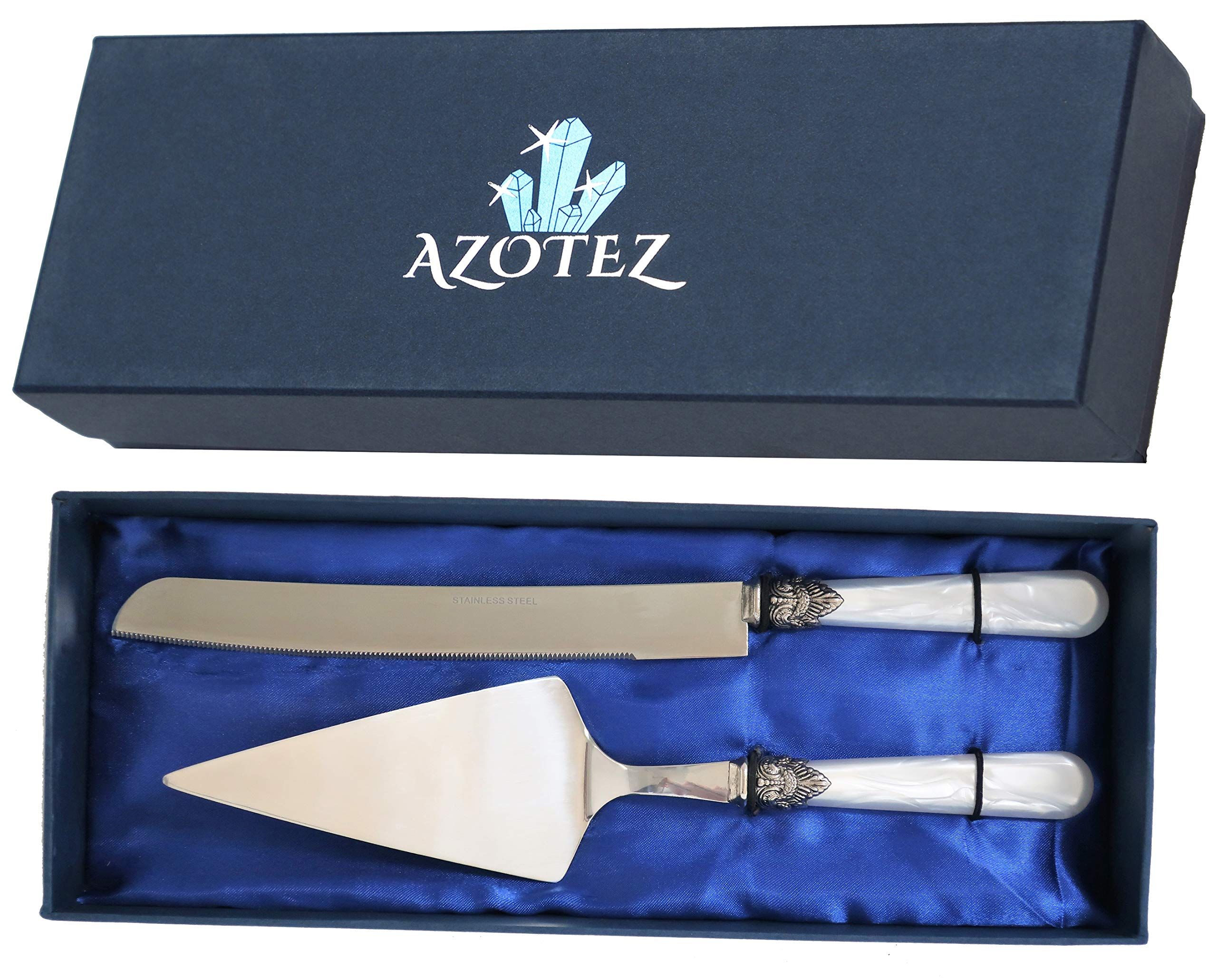 AZOTEZ Cake Server and Knife Set - Cake Cutter and Server or Pie Cutter. Wedding Cake Knife and Server Set Suitable for Cutting Cakes at Weddings, Birthdays or Anniversaries by AZOTEZ