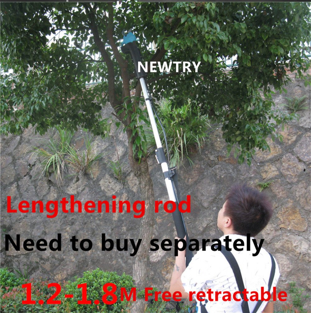NEWTRY Rechargeable Electric Fruit Tree Pruning Scissors Garden High Branch Shear Pruner Cutter Maximum 3CM Import Blade Continuous Work 10H (Lengthened rod)