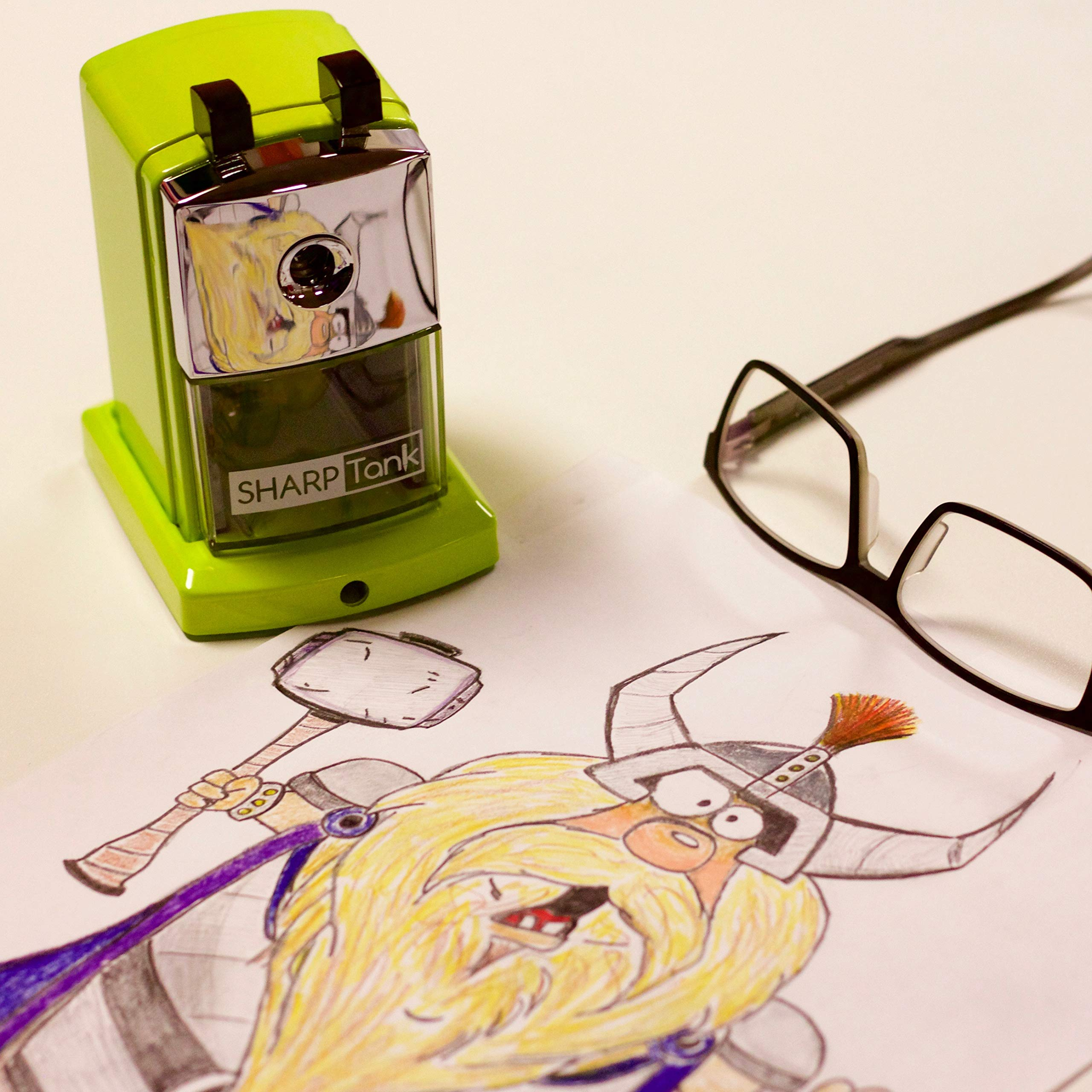 SharpTank - Portable Pencil Sharpener (Key Lime Green) - Compact & Quiet Classroom Sharpener That Gets Straight to The Point! by SHARP TANK (Image #4)
