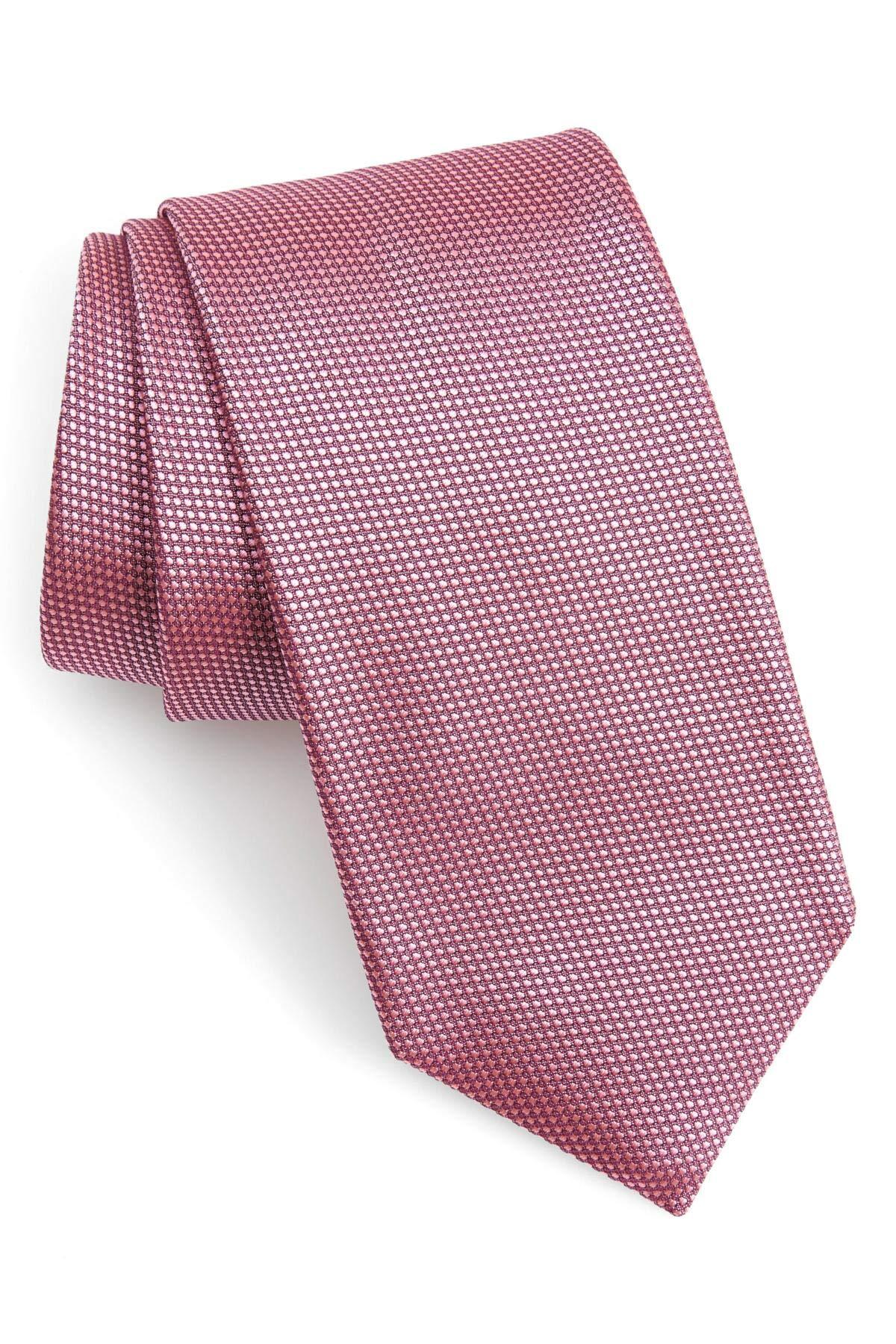 Hugo Boss Microdot Textured Woven Italian Silk Tie, Pastel Pink 50390062