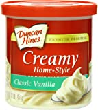 Duncan Hines Creamy Home-Style Frosting, Classic Vanilla, 16 Ounce (Pack of 8)