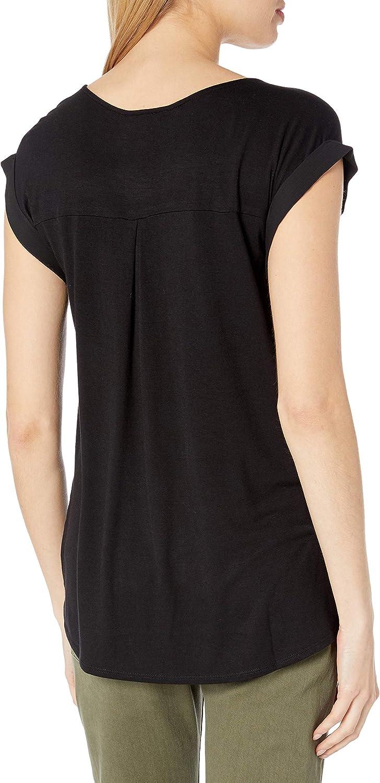 A Byer Womens Cuffed Cap Sleeve Top